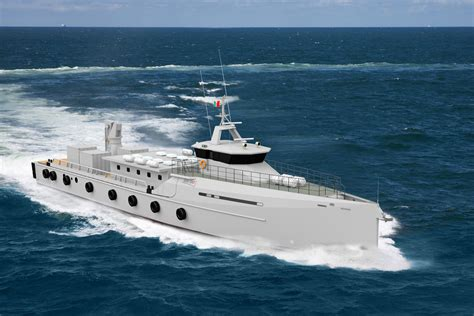 boat crew in spanish mexican navy and damen sign contract for two vessels