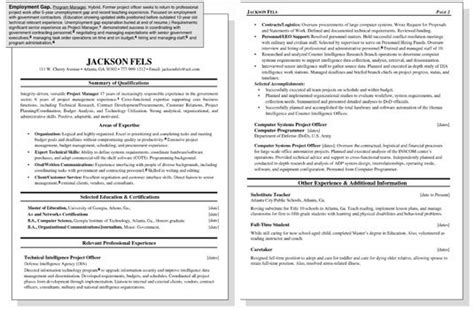 resume exles gap work history resume with employment gap exles exles of resumes