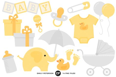 Baby Shower Background Clipart by Gender Neutral Baby Shower Clipart By Emily Peterson