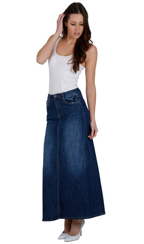 stonewash denim skirt skirt68 womens maxi skirt
