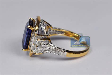 Blue Sapphire 5 24 Ct womens blue sapphire ring 18k yellow gold 6 03 ct