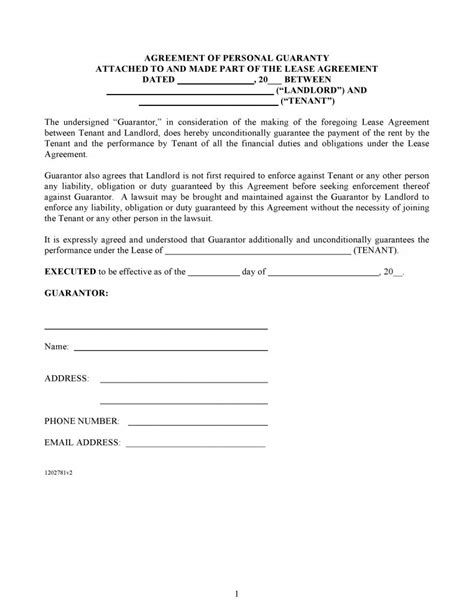 personal guarantee form free agreement of personal guaranty pdf template form