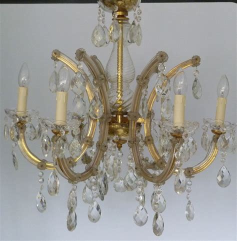 Vintage 6 Arm Marie Therese With Large Clear Lead Drops Vintage Chandelier Company