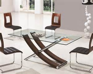 Xantos Clear Glass Dining Table 6 Wooden Pu Dining Chairs Clear Glass Dining Table And 6 Chairs