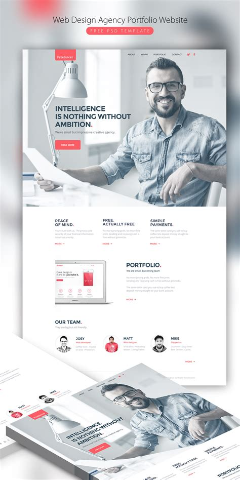 Web Design Agency Portfolio Website Free Psd Template Download Download Psd Sle Portfolio Websites Templates