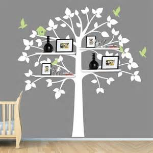 white tree wall decal baby nursery decor shelving shelves with birds
