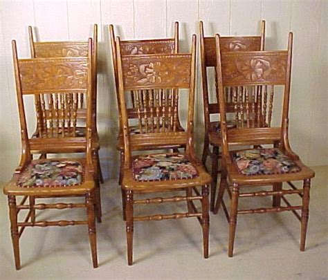 Press Back Chair by Set Of 6 Oak Press Back Chairs