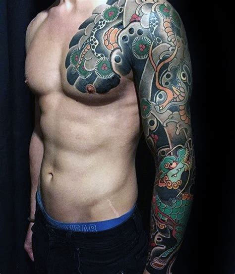 tattoo on chest and upper arm 50 japanese chest tattoos for men masculine design ideas