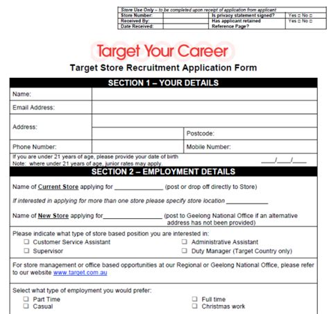 printable job application target search results for standard job application form