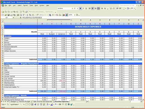 7 excel spreadsheet household budget excel spreadsheets