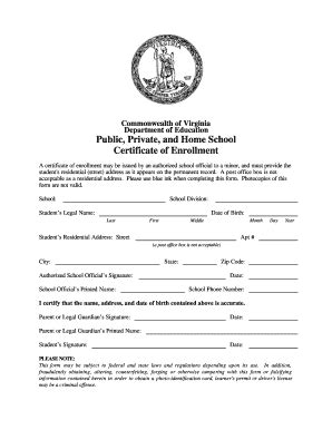 certification letter for enrollment certificate of enrollment fill printable