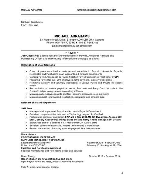 michael abrahams resume payroll technician 2016