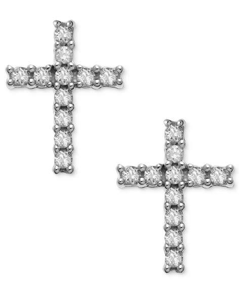 macy s 14k white gold earrings accent cross stud