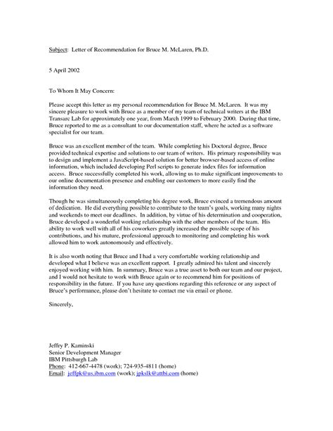 sample personal references recommendation letter from