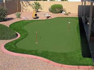 Desert Backyard Landscaping Synthetic Grass Artificial Putting Greens Custom Design