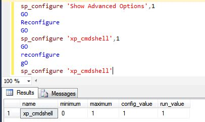configure xp sql server 1 enable xp cmdshell sql server