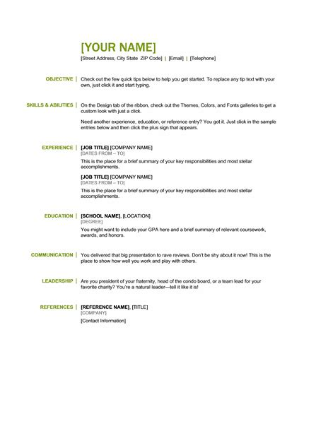 generic job resume template for all professionals formal