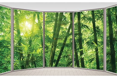 Wallpaper Bamboo Bambu 10m wallpapers mural ellipse window view bamboo forest
