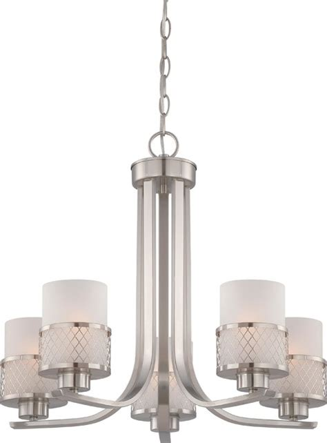 Kent Dining Room Light Fixtures Fusion 5 Light Chandelier Brushed Nickel Transitional