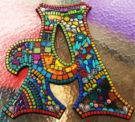 mosaic templates custom letters initials by tina wise crackin mosaics
