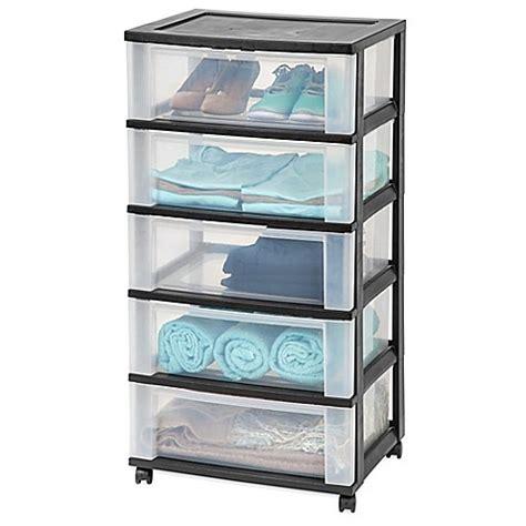 5 drawer organizer cart iris 174 5 drawer wide storage cart in black bed bath beyond