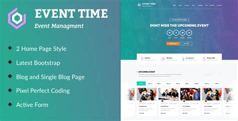 Event Time Conference Event Html Template By Themeinnovation Themeforest Event Website Template