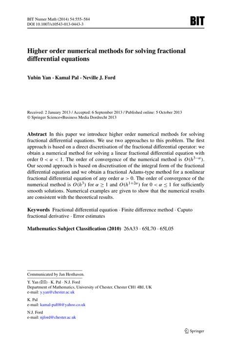 (PDF) Higher order numerical methods for solving fractional