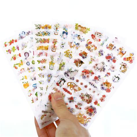 6 pcs set cats flowers animals sticker pvc stickers diary sticker scrapbook