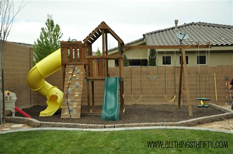 Backyard Swing Sets Outdoor Swing Sets And How To Prevent Weeds In The Run
