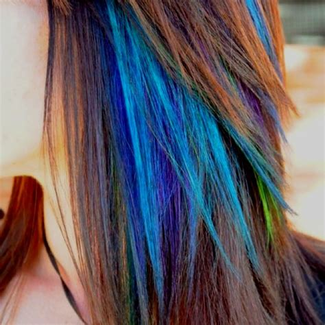 peacock colored hair peacock colored highlights hair hairstyles