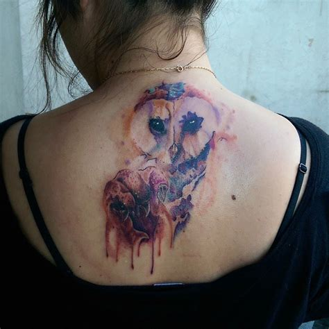owl watercolor tattoo barn owl