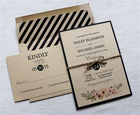Einladung Hochzeit Modern by Modern Wedding Invitation Kraft Wedding Invitation Rustic
