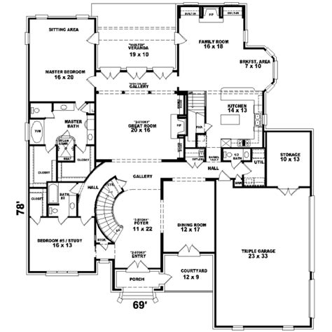 6 bedroom house plans luxury luxury style house plans 5200 square foot home 2 story