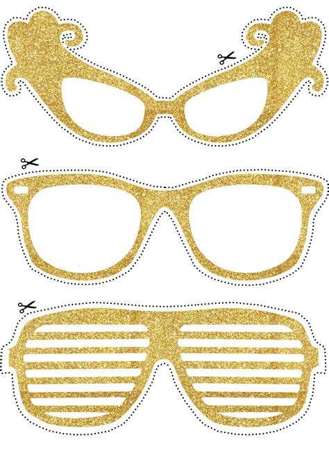 printable photo booth props glasses photo booth props golden glasses