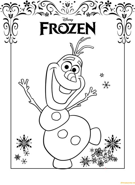 frozen coloring pages friendly olaf frozen coloring page free coloring pages