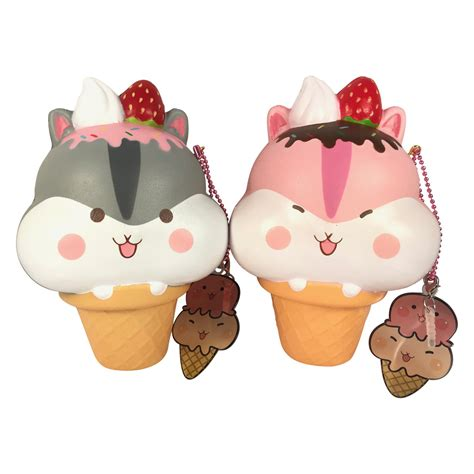 Squishy Kiibru Cone Pink Icecream Jumbo Soft Rising yummiipoli hamster mascot cone squishy with
