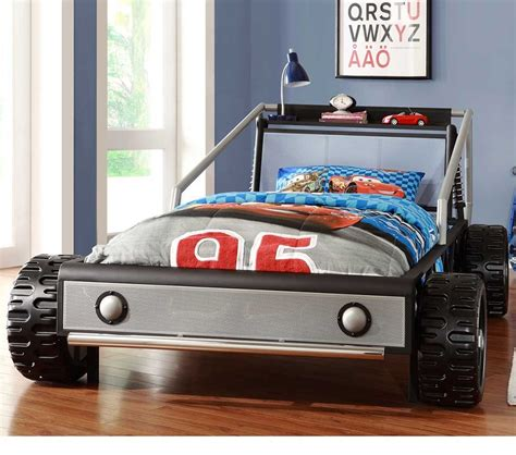 twin car bed dreamfurniture com track silver twin race car bed silver