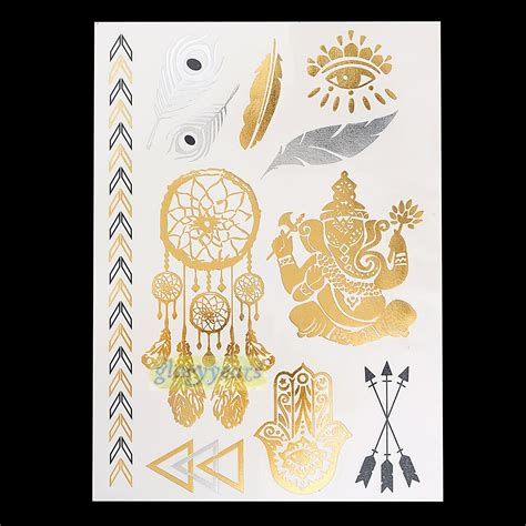 1pc flash gold silver metallic buy wholesale tattoos buddhism from china tattoos