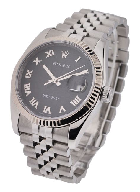 Rolex Date Just Wg For 116234 used black jubilee rolex datejust 36mm steel with