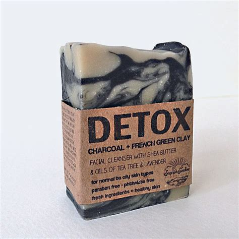 Charcoal Detox Soap Bar by Detox Bar Activated Charcoal Green Clay