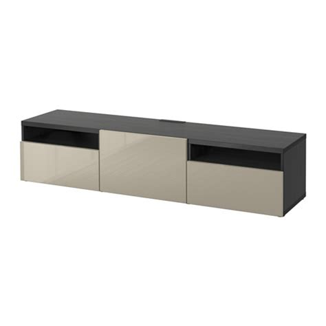 besta push opener best 197 tv bench black brown selsviken high gloss beige