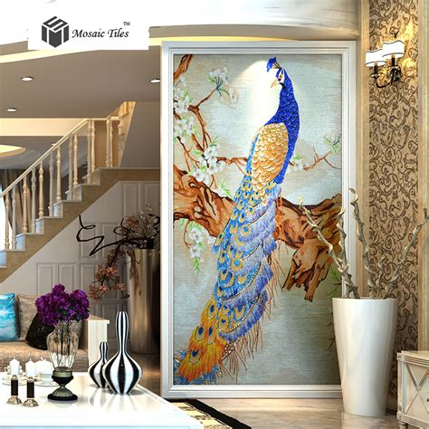 tst mosaic mural crystal glass blue peacock elegant