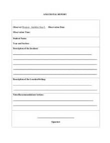 Anecdotal Template by Anecdotal Record Form