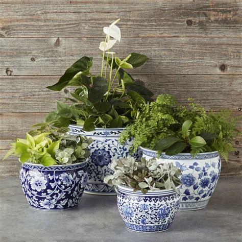 Blue And White Pottery Planters by Blue White Ceramic Planter Medium Williams Sonoma