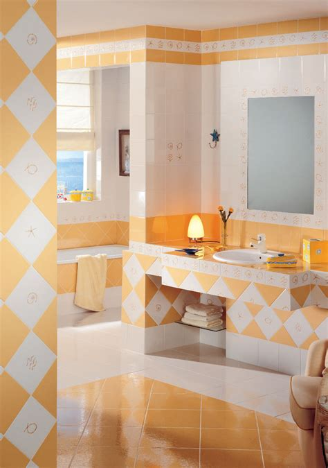 yellow and orange bathroom colorful and unique bathroom floor tile ideas furniture