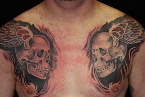 skull chest tattoos for men winged skulls chest for