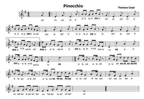 uno dei tanti testo musica e spartiti gratis per flauto dolce pinocchio