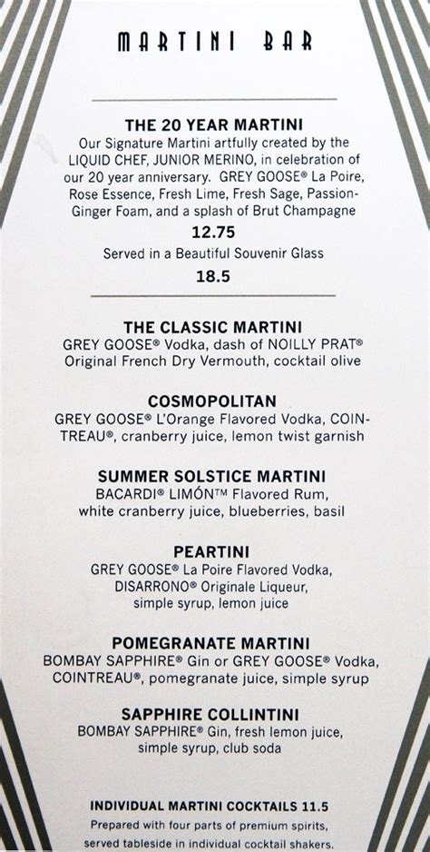 martini bar menu baltic menus
