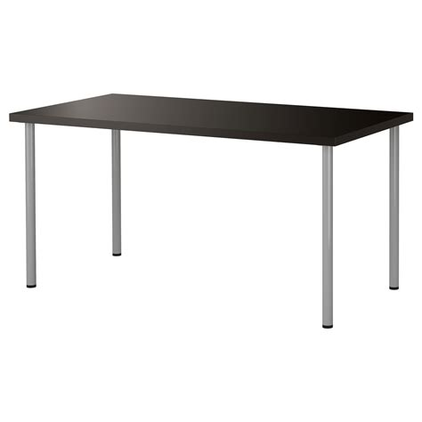 black ikea desk adils linnmon table black brown silver colour 150x75 cm ikea