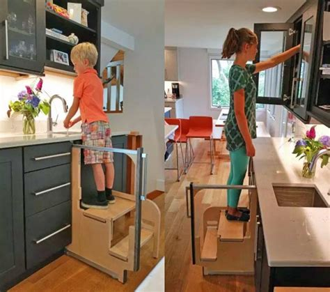 Cabinet Step Stool by Folding Step Stool Pulls Out From Cabinet